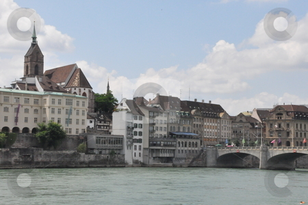Basel in Switzerland stock photo, Basel by the Rhine River in Switzerland by Ritu Jethani