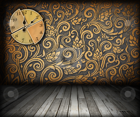 Interior with clock on wall  stock photo, interior with clock on wall by rufous