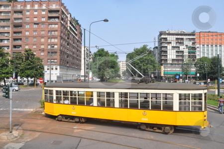 Old Trams in Milan stock photo, Old Trams in Milan, Italy by Ritu Jethani