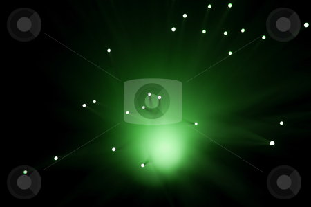Green abstract lights. stock photo, Abstract style capturing the ends of green illuminated fibre optic strands against black. by Samantha Craddock