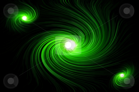 Vibrant green swirl stock photo, Abstract green swirling lights against black background. by Samantha Craddock