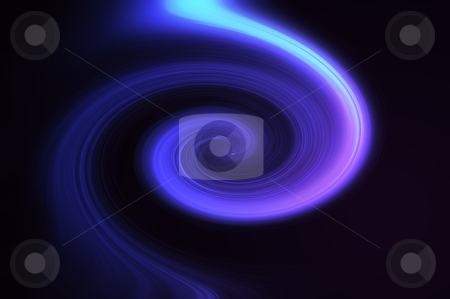 Abstract violet swirl stock photo, Abstract violet, blue and pink coloured light effect swirl against black background. by Samantha Craddock