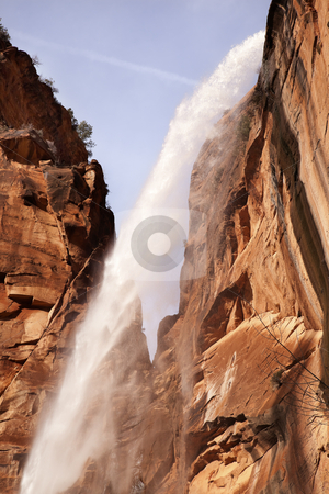Falling Water Weeping Rock Waterfall Red Rock Wall Zion Canyon N stock photo, Weeping Rock Waterfall Red Rock Wall Zion Canyon National Park Utah Southwest  by William Perry