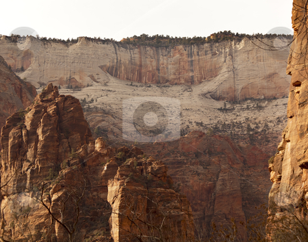 White Red Canyon Walls Zion Canyon National Park Utah  stock photo, White Red Canyon Walls from Weeping Rock Zion Canyon National Park Utah Southwest  by William Perry