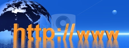 Http stock photo, Orange http in front of the earth in blue background by Elenarts
