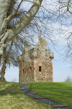 Greenknow tower scottish borders stock photo, Greenknowe tower ruin standing on small hill in Scottish Borders by Denovan