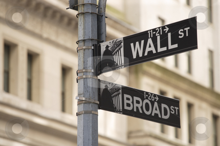 Wall street sign stock photo, Photo of the Wall Street sign in New York city. by © Ron Sumners