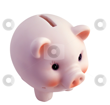 Piggy Bank stock photo, Pink piggy bank isolated on white by Cora Reed