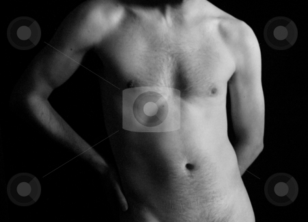 Nude man stock photo, trim nude man in black an white by Cora Reed