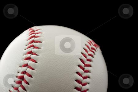 Baseball stock photo, Close up of a baseball over black background by Fabio Alcini