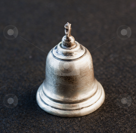 Bell stock photo, Little silver bell over black background by Fabio Alcini