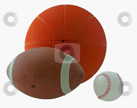 Sport balls stock photo, Balls for basketball, football and baseball isolated over white by Fabio Alcini
