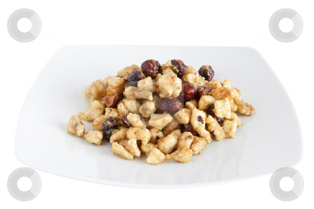 Chicken with nuts stock photo, plate with chicken and nuts isolated on white background with clipping path by ANTONIO SCARPI