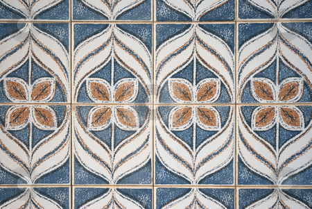 Traditional Portuguese azulejos stock photo, Traditional Portuguese azulejos, painted ceramic tilework. by Homydesign