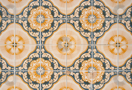 Traditional Portuguese azulejos stock photo, Ornamental old typical tiles from Portugal. by Homydesign