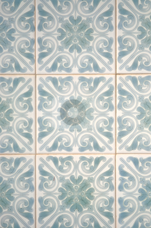 Traditional Portuguese azulejos stock photo, Traditional Portuguese azulejos - painted ceramic tilework. by Homydesign