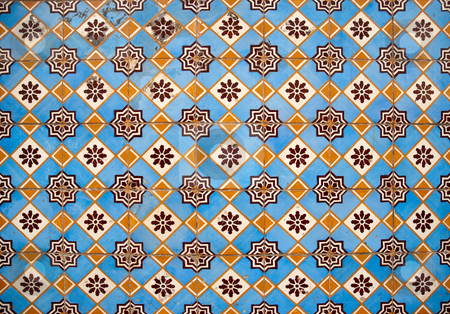 Traditional Portuguese glazed tiles stock photo, Traditional Portuguese azulejos - painted ceramic tilework. by Homydesign