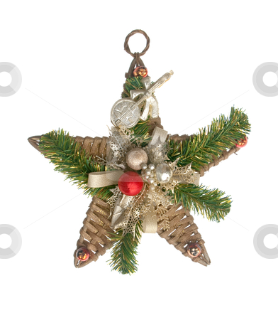 Star Christmas decoration stock photo, Star Christmas decoration isolated on the white background. by Homydesign