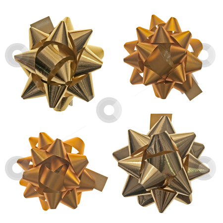 Shiny bows stock photo, Four shiny bows isolated on the white background. by Homydesign