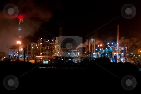 Industrial night view  stock photo, Night view of a industrial park. by Homydesign