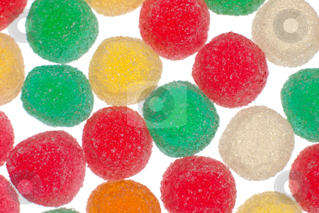 Gelly sugar candy stock photo, Macro up view of gelly sugar candy on white bright background. by Homydesign
