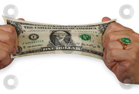 Stretch you money. stock photo, Stretching the one dollar bill. by WScott