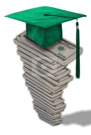 Cost of Education. stock photo, Money stacked high for cost of education. by WScott
