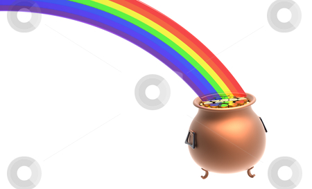 Pot full of gold coins stock photo, Copper pot full of gold coins at the end of rainbow by Borislav Marinic