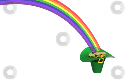 Hat full of gold coins stock photo, Hat full of gold coins at the end of rainbow by Borislav Marinic