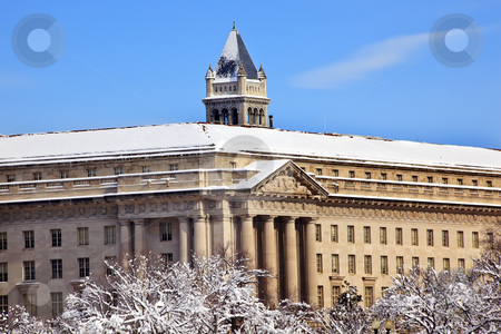 Commerce Department Old Post Office After the Snow Constitution stock photo, Commerce Department Old Post Office After the Snow Constitution Avenue Washington DC by William Perry