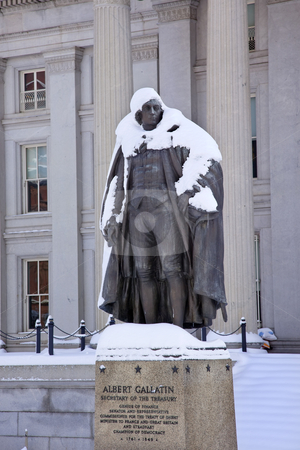 Albert Gallatin Statue After Snow US Treasury Department Washing stock photo, Albert Gallatin Statue After Snowstorm Winter US Treasury Department Washington DC by William Perry