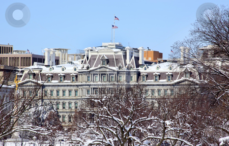 Old Excecutive Office Building After the Snow Constitution Avenu stock photo, Old Executive Office Building Vice President Office After the Snow Constitution Avenue Washington DC by William Perry