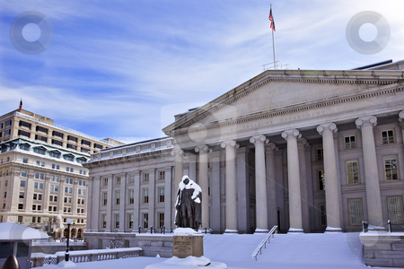 US Treasury Department Albert Gallatin Statue After Snow Washing stock photo, US Treasury Albert Gallatin Statue After Snowstorm Winter Washington DC by William Perry