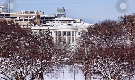 White House After the Snow Constitution Avenue Washington DC stock photo, White House After the Snow Constitution Avenue Washington DC by William Perry