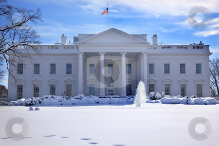 White House Fountain Flag After Snow Pennsylvania Ave Washington stock photo, White House Fountain Flag After Snow Pennsylvania Ave Washington DC by William Perry