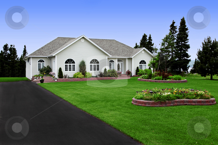 A newly constructed, modern rural home stock photo, a newly constructed, modern rural home by Melissa King