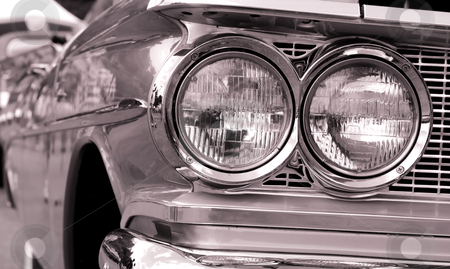 Classic car head lamps stock photo, Close up shot of classic car head lamps by Sreedhar Yedlapati
