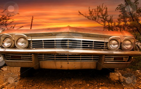 Old classic car stock photo, Wide angle shot of old classic car front end by Sreedhar Yedlapati
