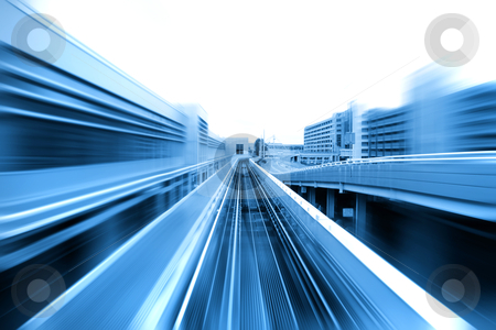 High speed train stock photo, Speedy airport transit train moving on the elevated tracks by Sreedhar Yedlapati