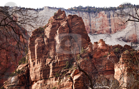 Red Rocks Great White Throne Zion Canyon National Park Utah  stock photo, Red Rocks Great White Throne Zion Canyon National Park Utah Southwest  by William Perry