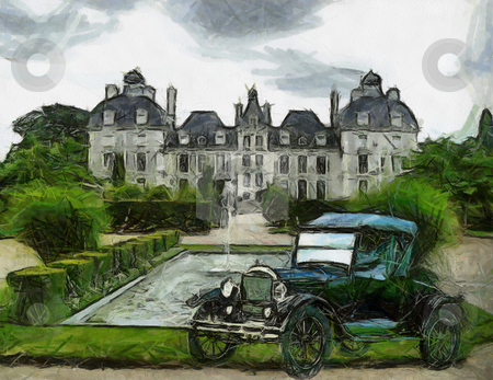 Vintage cars (oil painting) stock photo, Front view of a vintage Ford T 1928 passenger vehicle. Oil painted. by Snap2Art