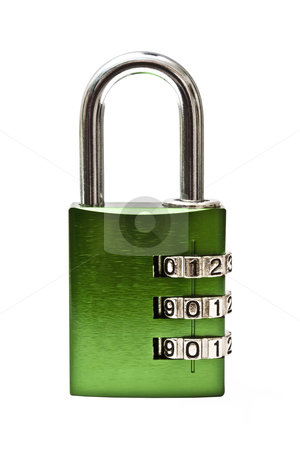 Combination Lock  stock photo, Green combination lock isolated on white background by Sasas Design