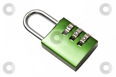 Green combination lock  stock photo, Green combination lock isolated on white background by Sasas Design