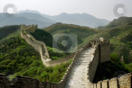 The Great Wall of China stock photo, A section of The Great Wall of China, in Badaling.  by © Ron Sumners