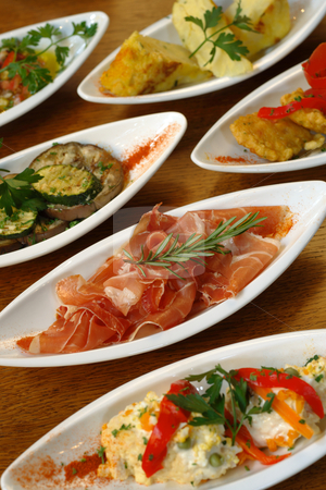 Spanish tapas stock photo, A table full of Spanish tapas.  by © Ron Sumners