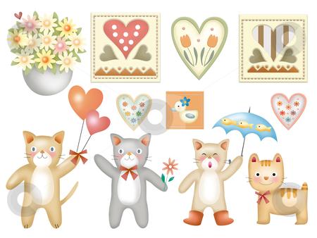 Cartoon set - 013 stock photo, extra big cartoon  toy set -  cat by Tang Shu-chuan