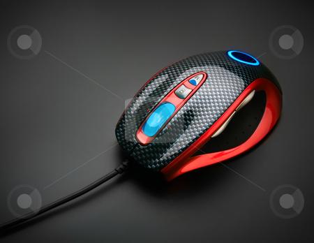 Stylish optical mouse stock photo, Stylish optical mouse, on black background by Andrey Zyk