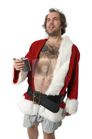 Bad Santa Claus stock photo, A drunk Santa Claus with flask, no pants and full of bad attitude.  by © Ron Sumners