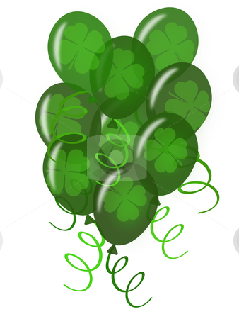 Balloons with Confetti for St. Patricks Day  Party stock photo, Balloons with Confetti White Background for St Patricks Day Party Illustration by Thye Gn