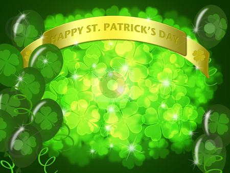 St Patricks Day Two Green Beers Banner Shamrock stock photo, St Patricks Day Two Green Beers Banner with Shamrocks Bokeh Illustration by Thye Gn